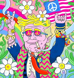 An illustration of hippy Donald Trump. Image: Sam Taylor