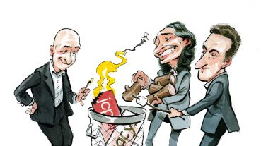 Jeff Bezos, Adam Neumann and Brian Chesky have disrupted traditional real estate industry models. Illustration: Britt Spencer/for Commercial Observer