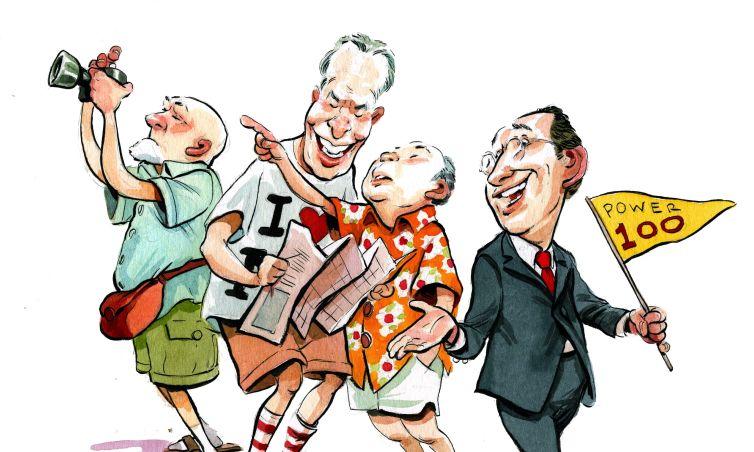 Sam Zell, Donald Bren and Masayoshi Son being led by Power 100 veteran Gary Barnett. Illustration: Britt Spencer/for Commercial Observer