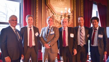 The Traditional vs. Non-traditional Lender Panelists. From left to right: Jay Neveloff, Timothy Johnson, George Klett, Alan Wiener, Jeff DiModica and Simon Ziff. Photo: Michael Calabretta/ Commercial Observer