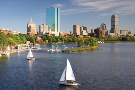 Sailboats on the Charles River with Boston's Back Bay skyline in the background. Photo: Getty Images