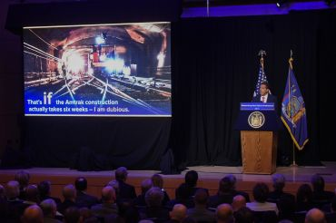 Governor Andrew Cuomo proposes having the state take over Pennsylvania Station at a press conference this week. Photo: Governor's Office