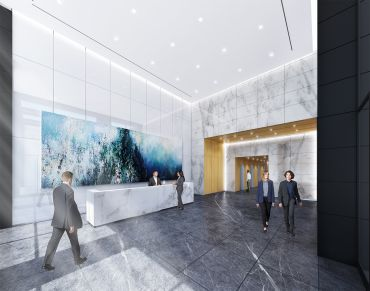The lobby of the building will be revitalized with more modern aesthetics. Rendering: Gensler