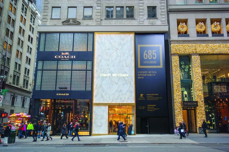 Coach and Stuart Weitzman at 685 Fifth Avenue. Photo: Thor Equities