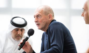Rem Koolhaas at the opening of his new building, Concrete, on Alserkal Avenue in Dubai. Photo: Alserkal Avenue
