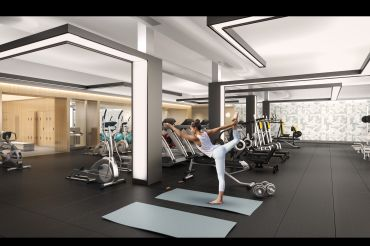 """The columns of the fitness area have been retrofitted with """"Tron""""-like light pillars. Rendering: VisualHouse"""
