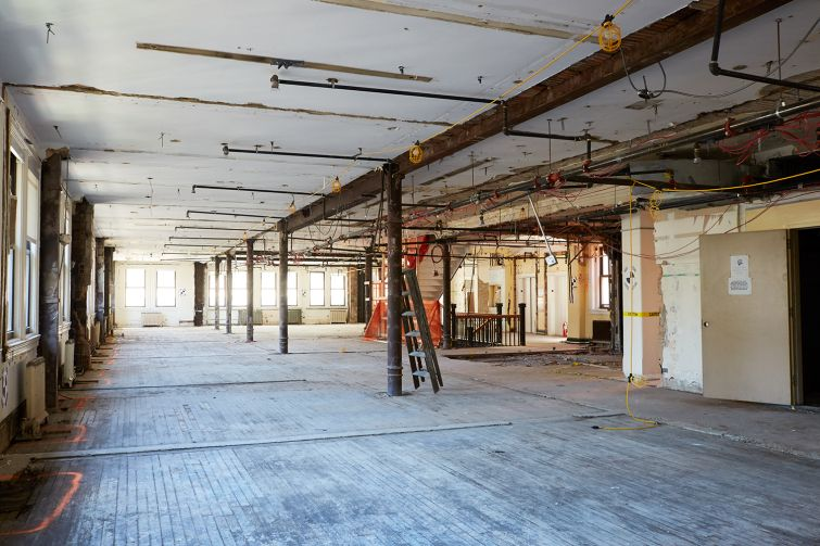 The wood floors and cast iron columns of office space in the building will give a look that many modern tenants crave.  Photo: Yvonne Albinowski/For Commercial Observer