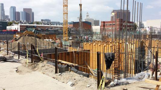 Construction in Los Angeles' Arts District.