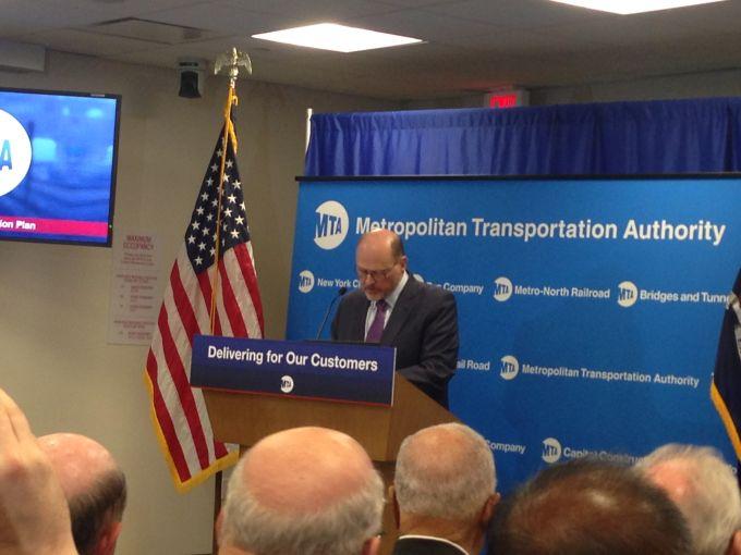 MTA chairman Joseph Lhota announces a plan to improve subway repairs and maintenance. Photo: Rebecca Baird-Remba/Commercial Observer
