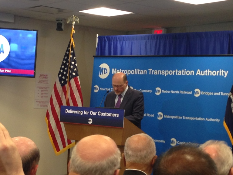 MTA chairman Joseph Lhota announces a plan to improve subway repairs and maintenance. Photo: Rebecca Baird-Remba/Commercial Observer