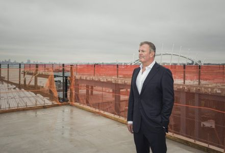 Douglas Elliman Commercial broker Michael Brais at the Empire Outlets retail development in Staten Island. Photo: Sasha Maslov/for Commercial Observer