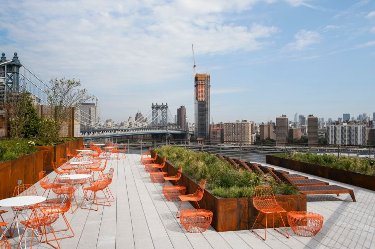 The skyline of the city seen from the new roof deck at 20 jay Street. Photo: Two Trees Management Company.