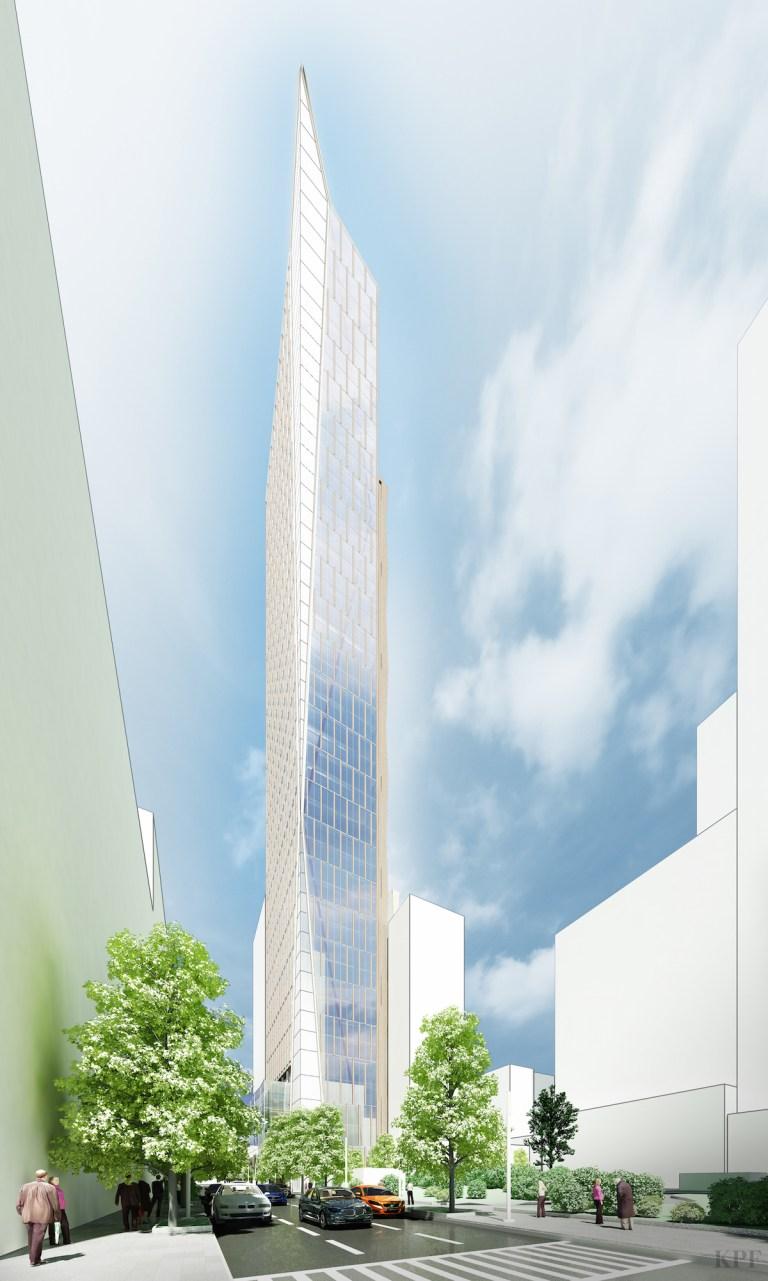 An old rendering 420 Albee Square. Rendering: KPF