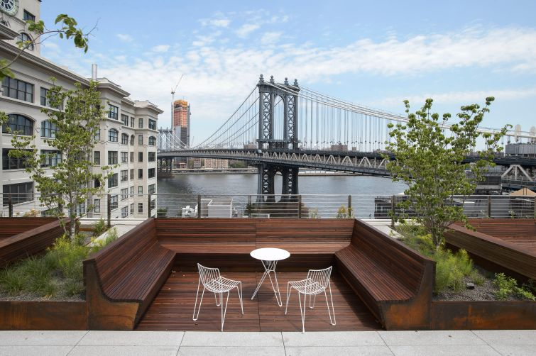 45 Main Street has views of Manhattan from wooden seats. Photo: Two Trees Management Company.