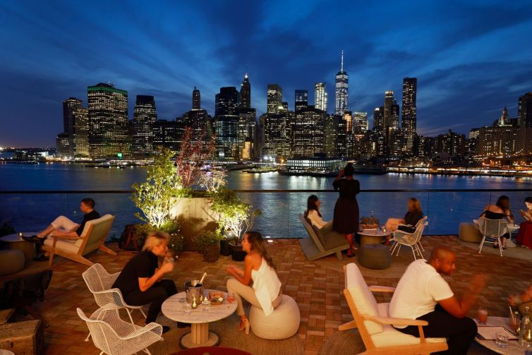 The rooftop at 1 Hotel Brooklyn Bridge in the Dumbo. Photo: Matt Abramcyk