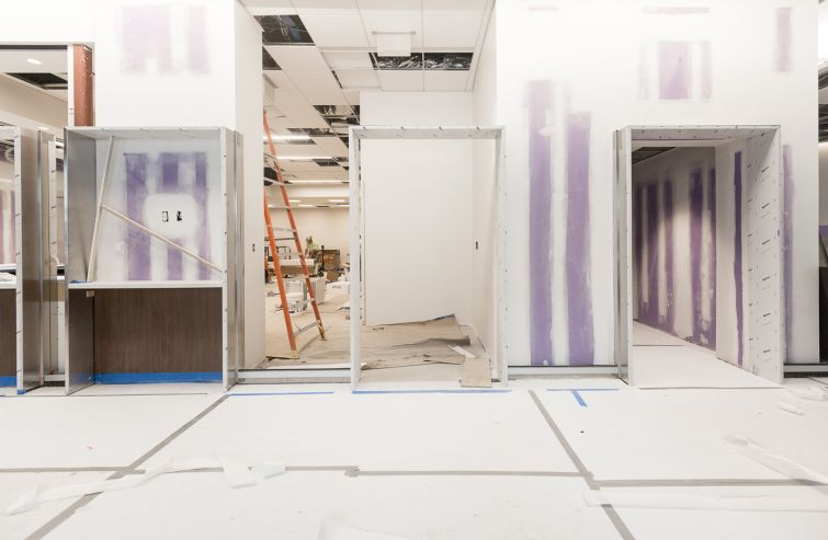 The under-construction lobby and pharmacy at 620 Fulton Street. Photo: Emily Assiran/For Commercial Observer