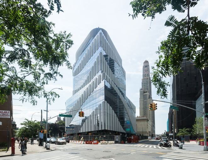 The facade of the hotel trades' new Brooklyn Health Center at 620 Fulton Street.