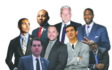 City Councilmembers Ritchie Torres, Donovan Richards, Jimmy Van Bramer, Mark Levine, Corey Johnson, Ydanis Rodriguez and Jumaane Williams. Photo Illustration: Kaitlyn Flanagan/For Commercial Observer