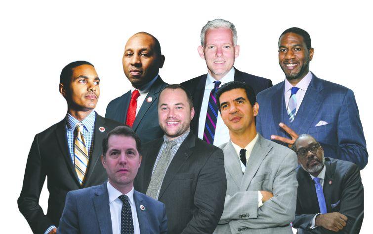 City Councilmembers Ritchie Torres, Donovan Richards, Jimmy Van Bramer, Mark Levine, Corey Johnson, Ydanis Rodriguez and Jumaane Williams. Photo Illustration: Kaitlyn Flanagan/For Commercial Observer