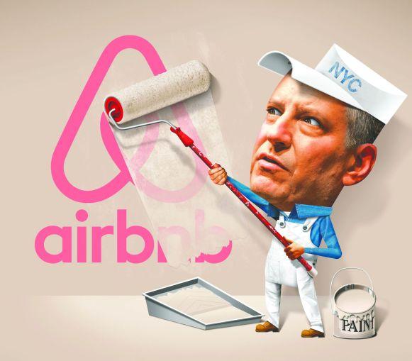 Mayor Bill de Blasio tries to fight Airbnb. Illustration: John Corbitt/For Commercial Observer