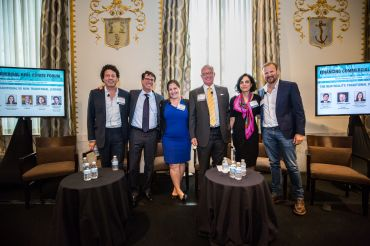 From left to right: Simon Ziff (Ackman Ziff), Jeff Fastov (Square Mile), Katie Keenan (Blackstone), Ron Paul (EagleBank), Sadhvi Subramanian (Capital One) and Norman Jemal (Douglas Development Corporation).