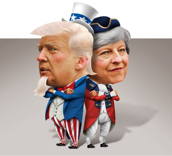 Donald Trump and Theresa May. Illustration: John Corbitt/for Commercial Observer