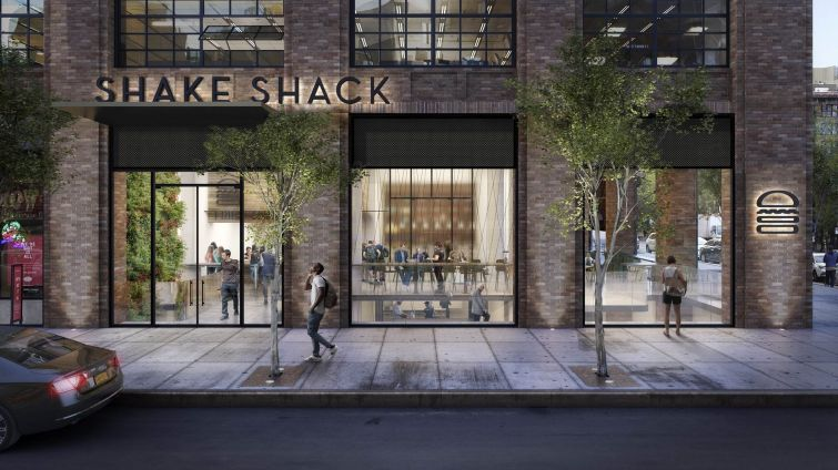 A rendering of the new Shake Shack at 225 Varick Street.