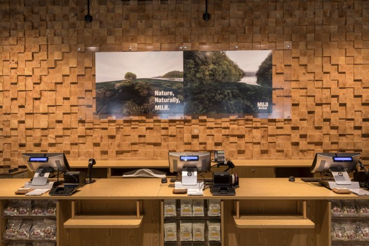The unique wood walls in the store helps the space connect with nature. Photo: Lucas Roy