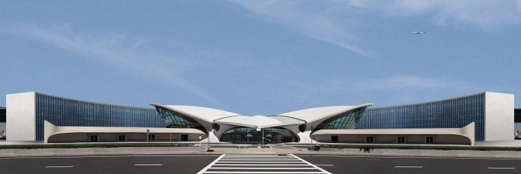 The new TWA Hotel will feature to seven-story buildings with 512 rooms around the landmarked TWA Flight Center as an amenity space.
