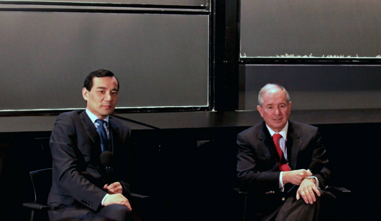 Former Anbang chairman Wu Xiaohui and Blackstone Chief Executive Officer Stephen Schwarzman.