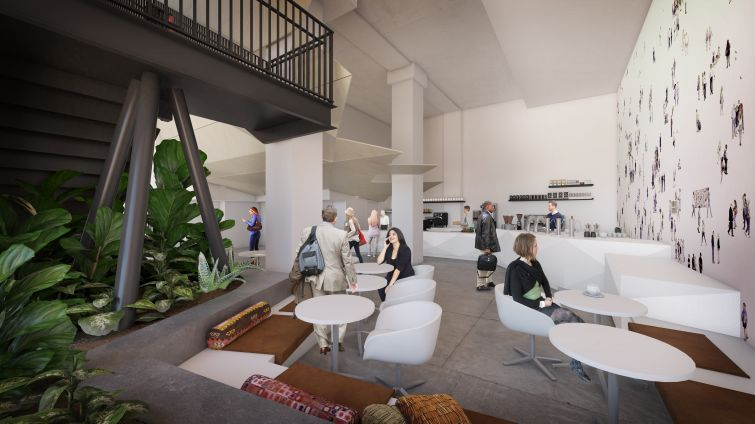 There will be ample common social spaces and a cafe in Convene's space. Rendering: Convene