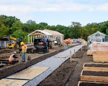 Construction of the Edible Academy by the EW Howell Construction Group, on the grounds of The New York Botanical Garden.
