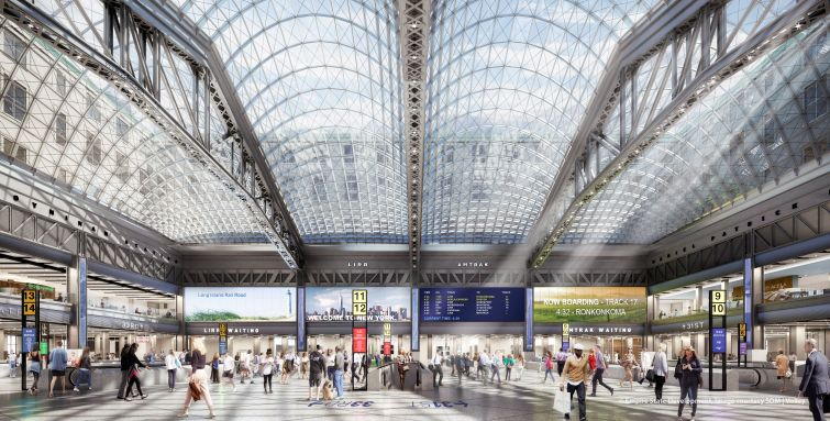 A rendering of the Moynihan Train Hall, one of the largest projects to begin construction within the year.