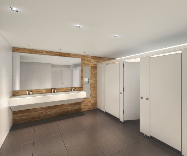 The bathrooms have been custom-made with limestone countertops and wood walls. Rendering: Cove Property Group