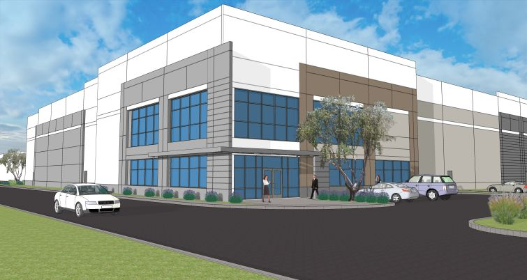 A rendering of one of the planned warehouses at 800 Hoyt Street.