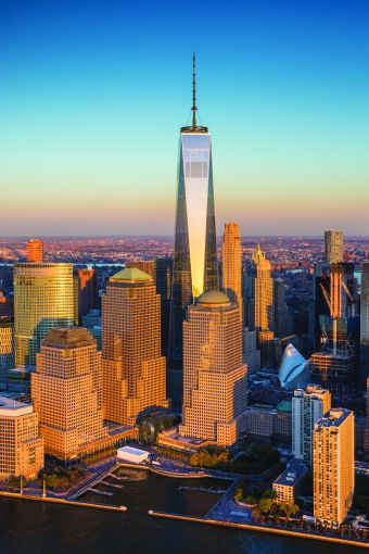 One World Trade Center and Lower Manhattan.