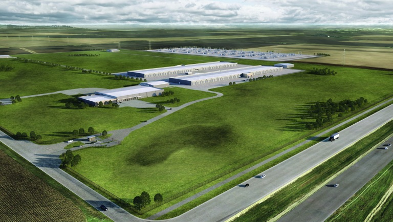 A rendering of Apple's planned data center.