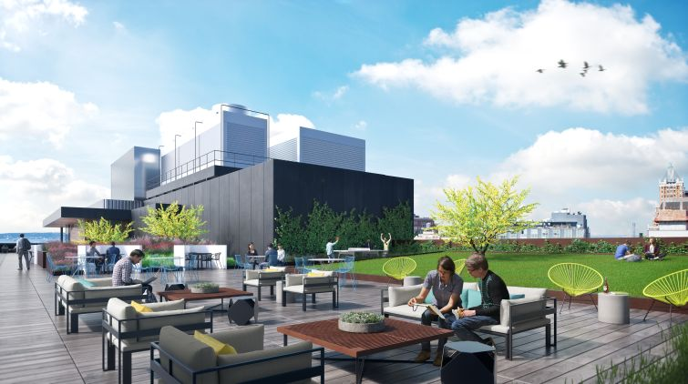 The roof of the Wheeler will feature a lawn and seating for events and tenants to enjoy.