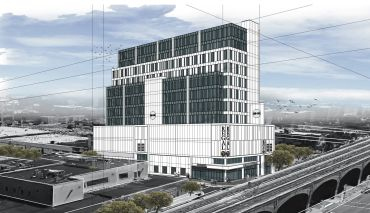 A rendering of the mixed-use building at 38-01 Queens Boulevard, which will be anchored by a Regal Cinemas location.