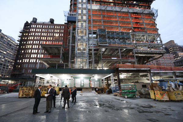 Executives from EY and Brookfield Property Partners tour Brookfield's 1 Manhattan West on Wednesday.