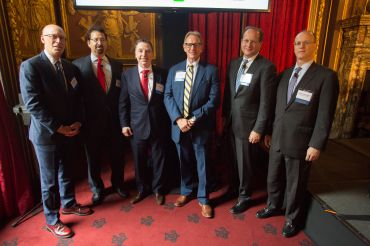 From left to right: John Gunther-Mohr (Santander), Mark Edelstein (Morrison & Foerster), Gregory Murphy (Natixis), Gregg Gerken (TD Bank), David Durning (PGIM),  Darrell L. Gustafson (Deutsche Bank).