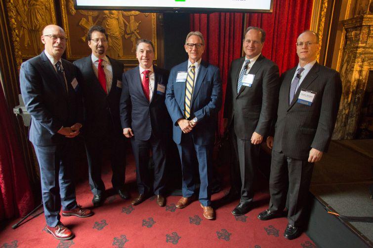 From left to right: John Gunther-Mohr (Santander), Mark Edelstein (Morrison & Foerster), Gregory Murphy (Natixis), Gregg Gerken (TD Bank), David Durning (PGIM),  Darrell L. Gustafson (Deutsche Bank).