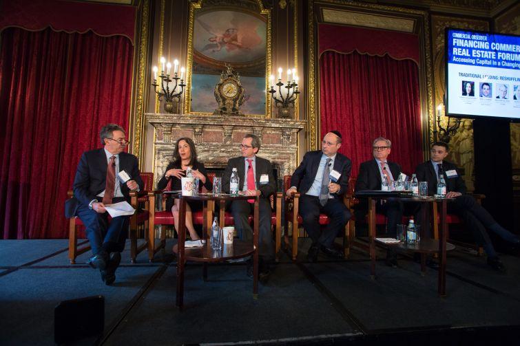 From left to right: Jonathan Mechanic (Fried Frank), Priscilla Almodovar (J.P. Morgan), Jeremy Shell (TF Cornerstone), Ralph Herzka (Meridian Capital Group), Matthew Galligan (CIT Bank) and Brad J. Dubeck (Bank of America).