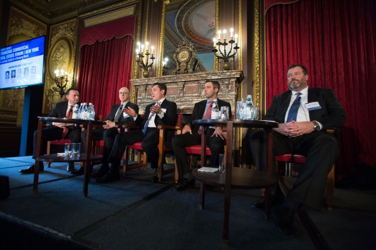 From left to right: Brian Olasov (Carlton Fields), Larry J. Kravetz (Barclays), David Bouton (Citigroup), Matthew Masso (Credit Suisse), Brian L. Hanson (CWCapital Asset Management)