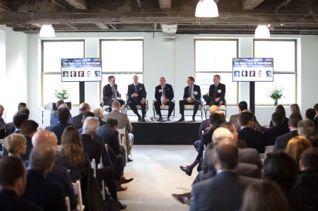 Jonathan Mechanic, David Levinson, Bruce Mosler, Ric Clark and Matt Straz discuss the downtown office market during the first panel of the day.