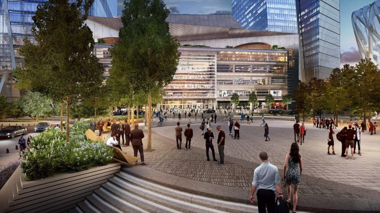 Rendering of Hudson Yards retail and public square.