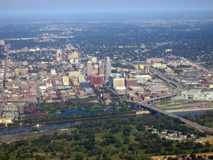 Aerial view of downtown Omaha, Neb.