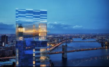 A rendering of 1 Seaport, aka 161 Maiden Lane, which is allegedly leaning due to faulty construction.