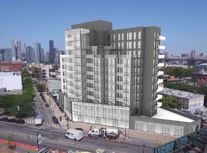 A rendering of the condo and retail project.