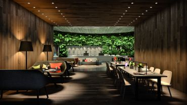 A rendering of the Garden Room at the amenity floor.